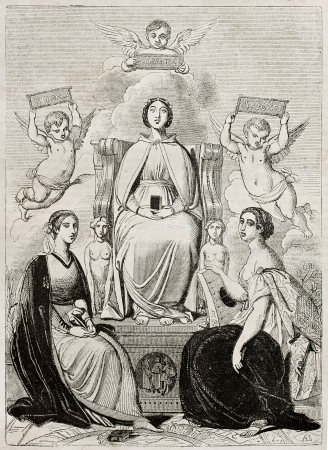 Three women (Beatrice, Laura and Orsolina) that three Italian poets (Dante, Petrarca, Ariosto) loved. Created by Boulanger, published on Magasin Pittoresque, Paris, 1840