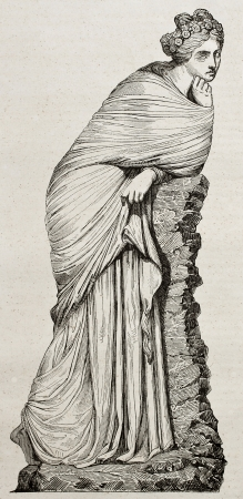 greek mythology: Polyhymnia marble statue old illustration. By unidentified author, published on Magasin Pittoresque, Paris, 1840