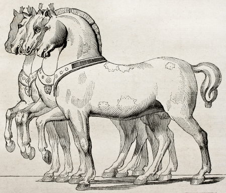 St. Mark Basilica horses old illustration, Venice. By unidentified author, published on Magasin Pittoresque, Paris, 1840 Editorial