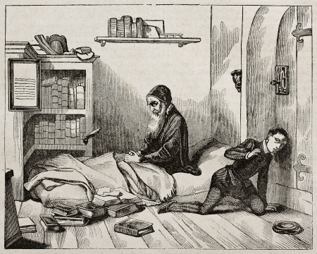 humanist: Petrus Ramus (Pierre de la Ramee) waiting his killer, old illustration. Created by Fleury, published on Magasin Pittoresque, Paris, 1840