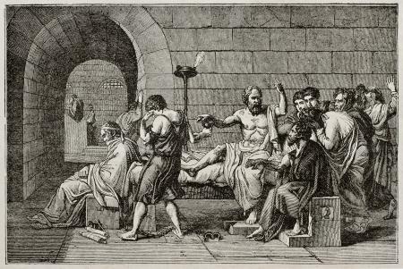 hemlock: Ilustración Sócrates muerte de edad, después de tableta de David, publicado el Magasin Pittoresque, París, 1840 Editorial