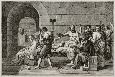 ancient greek: Socrates death old illustration, after tablet of David, published on Magasin Pittoresque, Paris, 1840