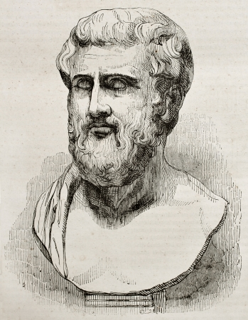 Sophocles bust old illustration. By unidentified author, published on Magasin Pittoresque, Paris, 1840