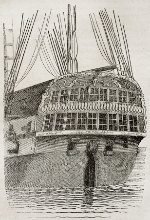 Stern view of a vessel, old illustration. By unidentified author, published on Magasin Pittoresque, Paris, 1840