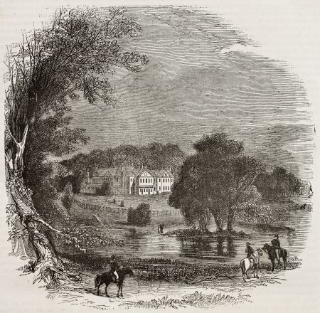 manor: Stratfield Saye House old view, county of Hampshire, England. By unidentified author, published on Magasin Pittoresque, Paris, 1840