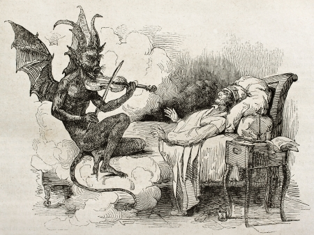 Tartini dream old illustration: Famous composer and violinist of the Republic of Venice. Created by J. Bolly after Boilly father, published on Magasin Pittoresque, Paris, 1840