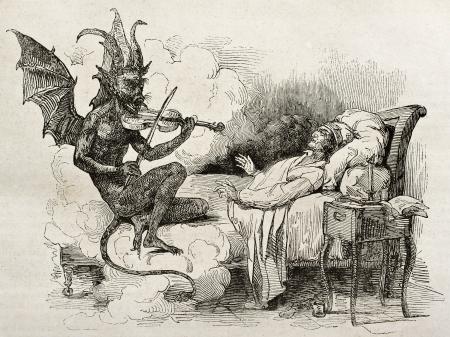 Tartini ilustración viejo sueño: famoso compositor y violinista de la República de Venecia. Creado por J. Boilly padre después de Bolly, publicado el Magasin Pittoresque, París, 1840