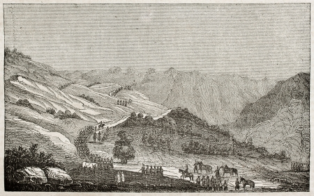 Teniah pass old view, Mouzaia hill, Algeria. Created by Genet, published on Magasin Pittoresque, Paris, 1840 Stock Photo - 15204144