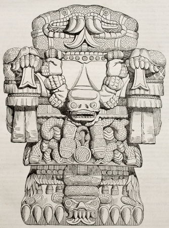 aztec art: Teoyaomicqui, Aztec god of dead lost souls, old illustration. By unidentified author, published on Magasin Pittoresque, Paris, 1840 Editorial