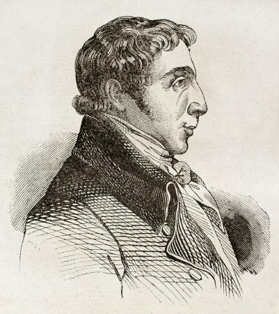 albrecht: Albrecht Daniel Thaer old engraved portrait, German agronomist. By unidentified author, published on Magasin Pittoresque, Paris, 1840 Editorial