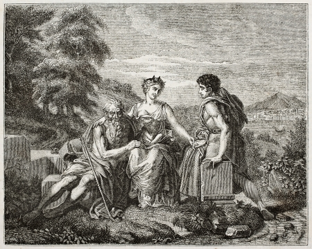 pictorial  representation: Three ages of life old pictorial representation. Created by Gerard, published on Magasin Pittoresque, Paris, 1840
