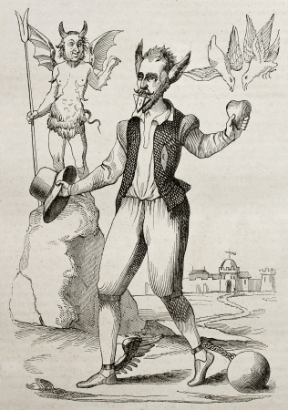 The Time Man, old 16th century caricature. By unidentified author, published on Magasin Pittoresque, Paris, 1840