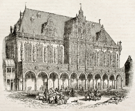 gothic window: Town Hall of Bremen old view. By unidentified author, published on Magasin Pittoresque, Paris, 1840