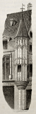 edifice: Turret of an edifice in rue du Temple, Paris. By unidentified author, published on Magasin Pittoresque, Paris, 1840