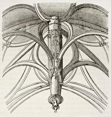 architectonic: Het gewelf van Vierge-de-Saint-Gervais kapel, architectonische details, Parijs. Door onbekende auteur, gepubliceerd op Magasin Pittoresque, Parijs, 1840