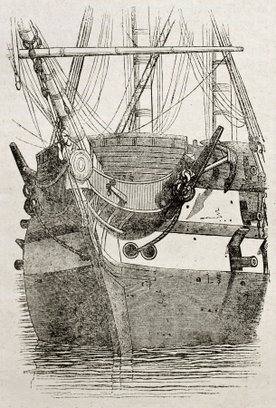Vessel bow front view, old illustration. By unidentified author, published on Magasin Pittoresque, Paris, 1840 Stock Photo - 15204123