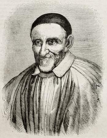 saint paul: Vincent de Paul old engraved portrait. By unidentified author, published on Magasin Pittoresque, Paris, 1840 Editorial