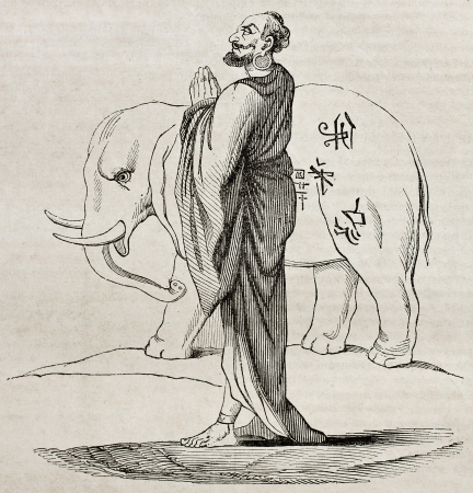 Whithe Siam sacred elephant and bonze, old illustration. Created by Couplet, published on Magasin Pittoresque, Paris, 1840 Stock Photo - 15203754