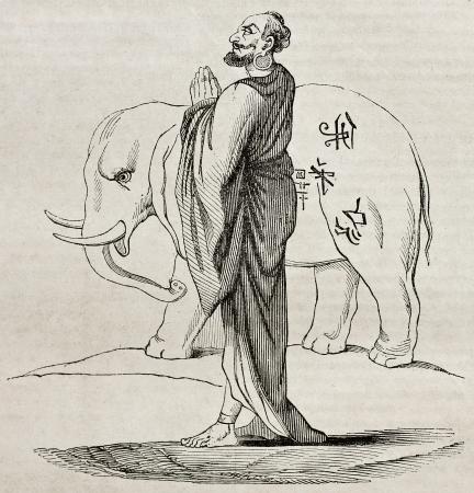 whithe: Whithe Siam sagrado elefante y bonzo, ilustraci�n edad. Creado por copla, publicado el Magasin Pittoresque, Par�s, 1840