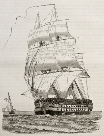 Battleship old illustration. By unidentified author, published on Magasin Pittoresque, Paris, 1842