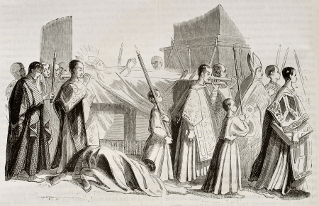 Bishop funeral procession. Picture attributed to Andrea Sacchi, kept in Nantes museum, Published on Magasin Pittoresque, Paris, 1842 Stock Photo - 15270287