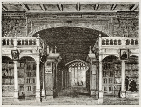 oxford: Bodleian library interior old illustration, University of Oxford. By unidentified author, published on Magasin Pittoresque, Paris, 1842