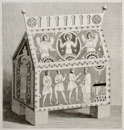 Byzantine enameled box old illustration. By unidentified author, published on Magasin Pittoresque, Paris, 1842