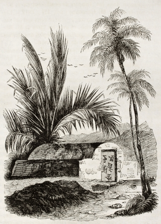 Chinese tomb old illustration, Ambon, Moloku islands. By unidentified author, published on Magasin Pittoresque, Paris, 1842 Stock Photo - 15269937