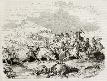 Cimbri defeat by Romans old illustration. Created by Girardet after Decamps, published on Magasin Pittoresque, Paris, 1842