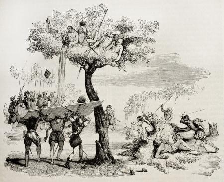 colonisation: Conquistadores spagnoli lotta contro centro-Americn nativi. Creato da De Bry, pubblicato il Magasin Pittoresque, Parigi, 1842 Editoriali