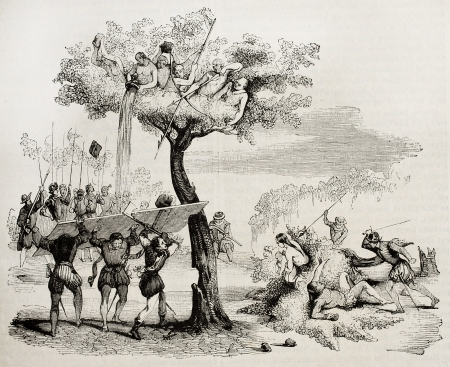 Spanish conquistadors fighting against central-Americn natives. Created by De Bry, published on Magasin Pittoresque, Paris, 1842 Éditoriale