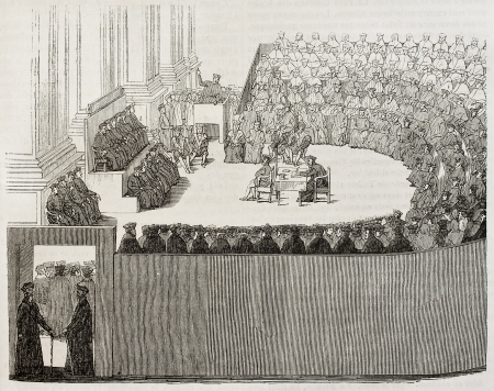 the council: Council of Trent old illustration. By unidentified author after engraving of 1565, published on Magasin Pittoresque, Paris, 1842