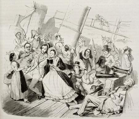 mare agitato: Traversata da Havre a Honfleur con il mare Roush. Creato da Biard, pubblicato il Magasin Pittoresque, Parigi, 1842