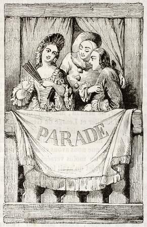 teatro antiguo: Entrada boleto para el espectáculo dado en 1759 por el rey Luis XV de Francia en el Petit Appartements teatro. Por autor no identificado, publicado el Magasin Pittoresque, París, 1842