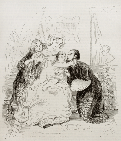 Family scene old illustration. Created by Wapers, published on Magasin Pittoresque, Paris, 1842
