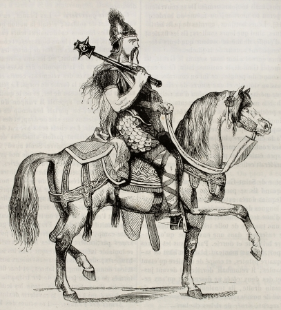 horse warrior: Frankish knight old illustration. Created by Montfaucon, published on Magasin Pittoresque, Paris, 1842