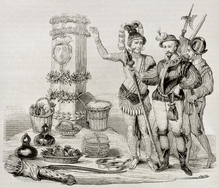 ancient soldiers: Chief Saturiwa shows to Laudonnier (French explorer) the monument placed by Jean Ribault in 1562. By unidentified author, published on Magasin Pittoresque, Paris, 1842