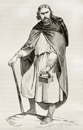 cassock: Gaul man wearing bardocucullus (hooded short cape). By unidentified author, published on Magasin Pittoresque, Paris, 1842