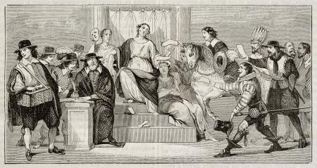 gazette: Gazette de France foundation in 1631, old illustration. After print kept in Royal Library, published on Magasin Pittoresque, Paris, 1842