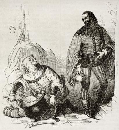 tales: Guest and cook old illustration, characters of Canterbury Tales. By unidentified author, published on Magasin Pittoresque, Paris, 1842