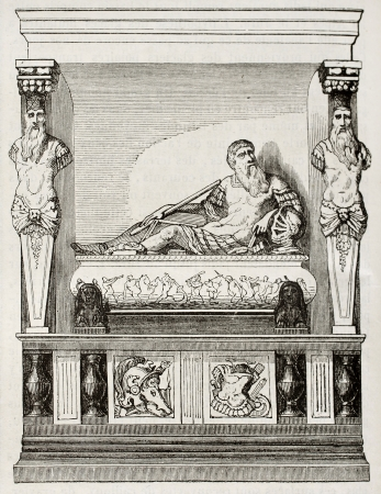mausoleum: Mausoleum of Guillaume du Bellay, seigneur du Langey, French diplomat and General. By unidentified author, published on Magasin Pittoresque, Paris, 1842 Editorial
