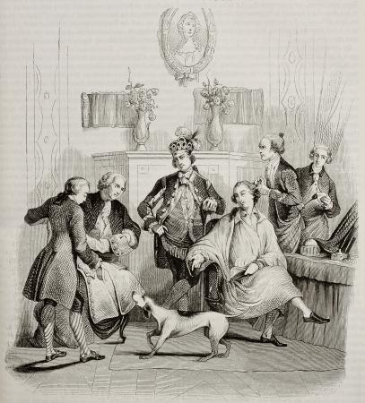 aristocrático: Aristocr�tica vieja ilustraci�n de peluquer�a. Creado por Moreau, publicada en Magasin Pittoresque, Par�s, 1842