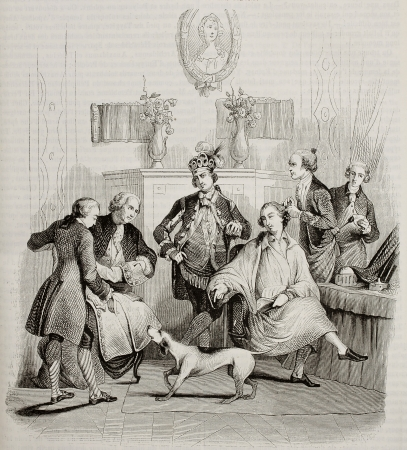 Aristocratic hairdressing old illustration. Created by Moreau, published on Magasin Pittoresque, Paris, 1842