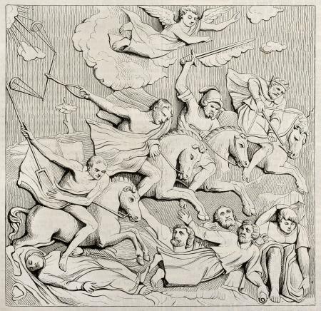 uomo a cavallo: Cavalieri dell'Apocalisse, bassorilievi su Jean de Langeac tomba nella Cattedrale di Limoges. Per autore non identificato, pubblicato il Magasin Pittoresque, Parigi, 1842