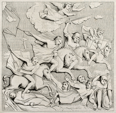 apocalypse: Horsemen of Apocalypse, bas-relief on Jean de Langeac tomb in Limoges cathedral. By unidentified author, published on Magasin Pittoresque, Paris, 1842