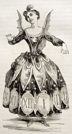 Hours costume old illustration. By unidentified author, published on Magasin pittoresque, Paris, 1842 Stock Photo - 15270278