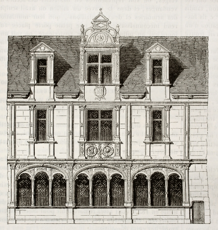 House in Rue Saint-Paul, Paris (demolished in 1835). By unidentified author, published on Magasin Pittoresque, Paris, 1842