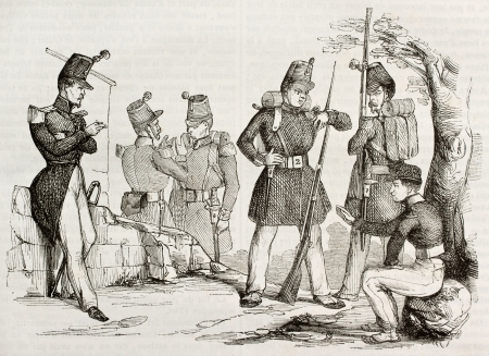 French army infantry uniforms and equipment. Created by Duvone, published on Magasin Pittoresque, Paris, 1842 Stock Photo - 15270373