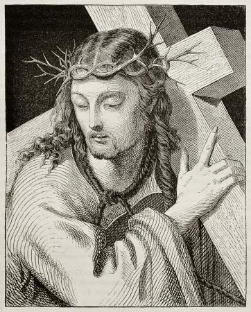 corona de espinas: Jesús cargando la cruz. Creado por Del Piombo, publicado el Magasin Pittoresque, París, 1842 Editorial