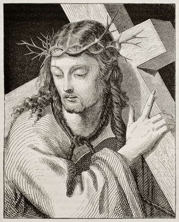 jesus paintings: Jesus carrying the cross. Created by Del Piombo, published on Magasin Pittoresque, Paris, 1842